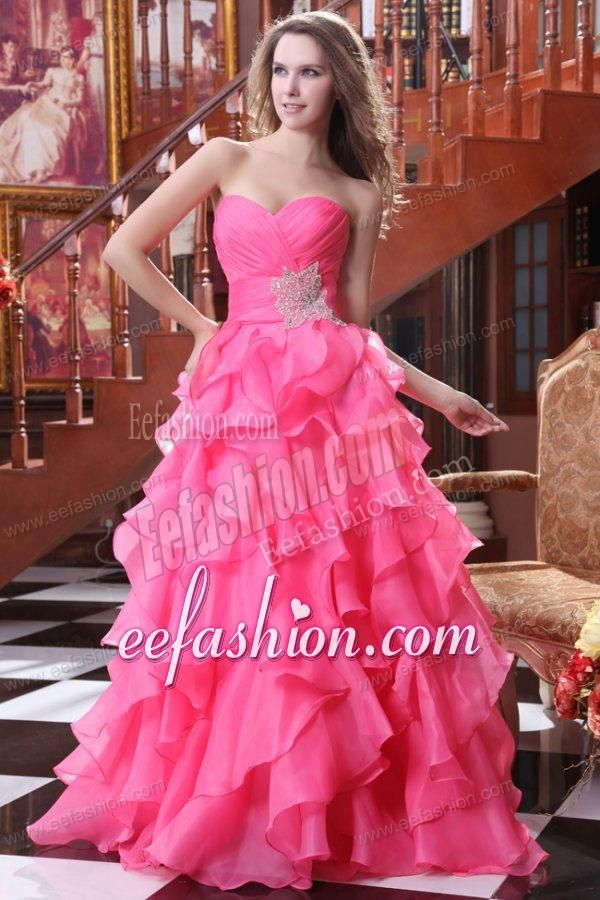 Hot Pink Cinderella Weddings Dress | Hot Pink A-line Sweetheart Prom ...