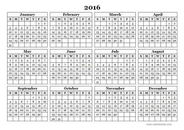 Yearly Calendar Template   Calendar    Free
