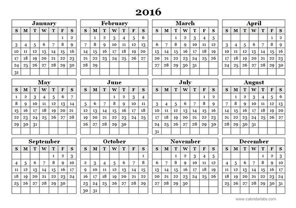2016 yearly calendar template 09 calendar pinterest free