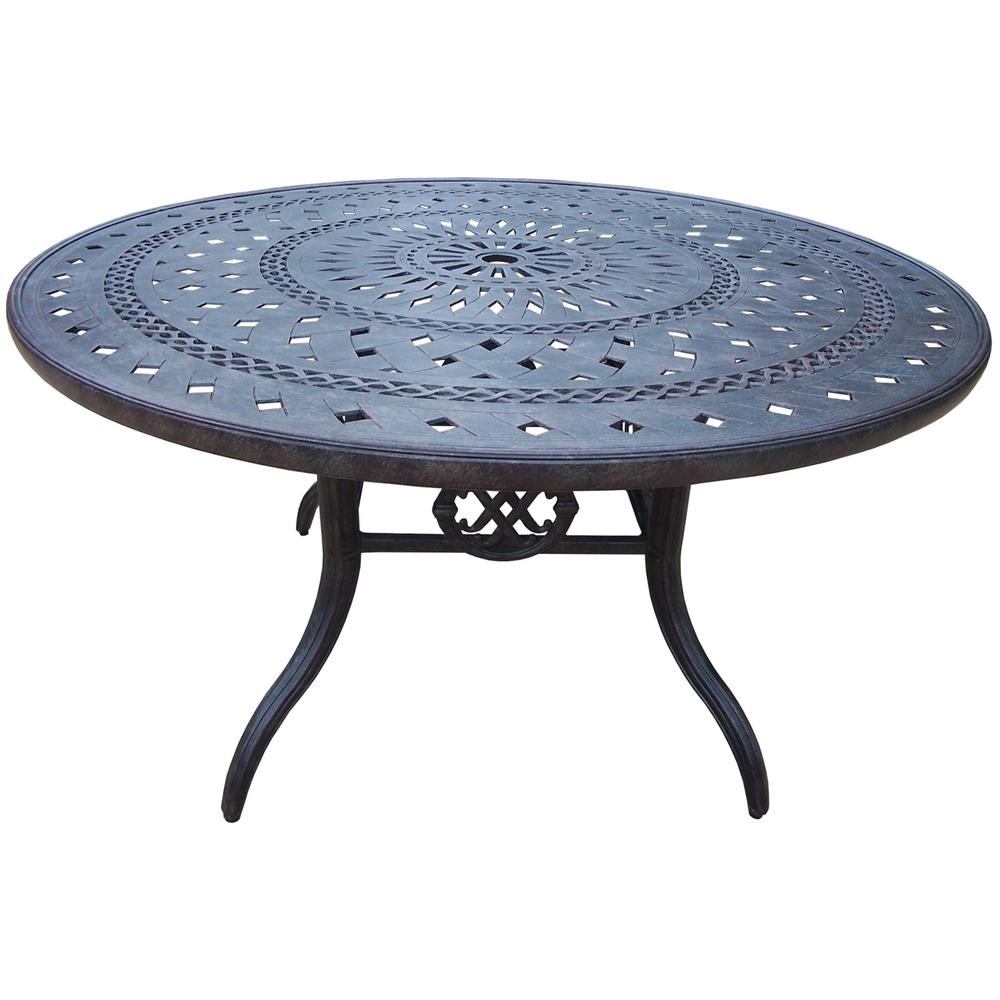Oakland Living Aluminum Round Outdoor Patio Dining Table Metal