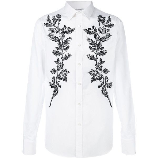 Alexander McQueen floral embroidered shirt ($895) ❤ liked on Polyvore  featuring men's fashion, men's clothing, men's shirts, men's dress shirts,  wh…