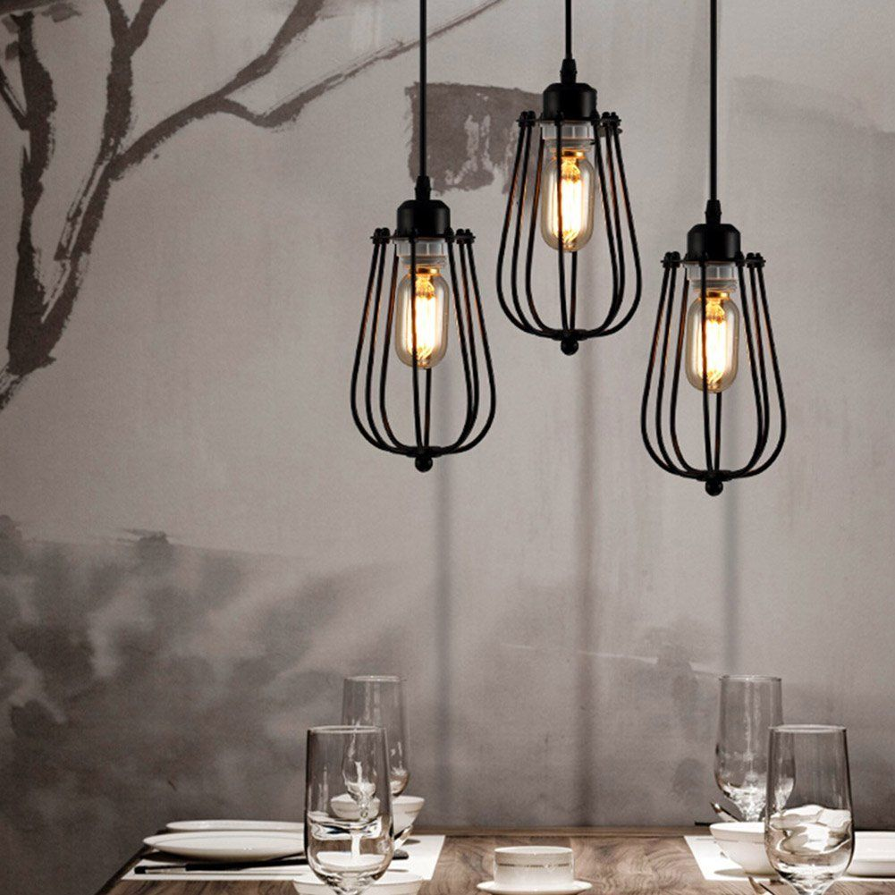 Plafonnier industriel lustre e27 suspension vintage edison for Suspension luminaire cage