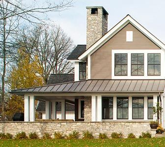 Best Love The Chimney White Trim Stone Brown Steel Roof 400 x 300