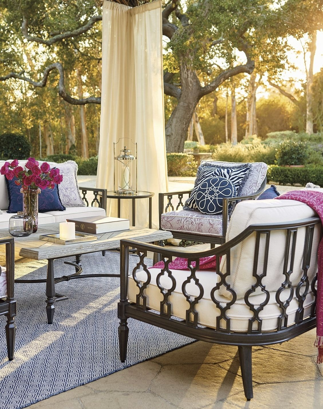 Avery Seating Style Note Navy Pink Patio Outdoor