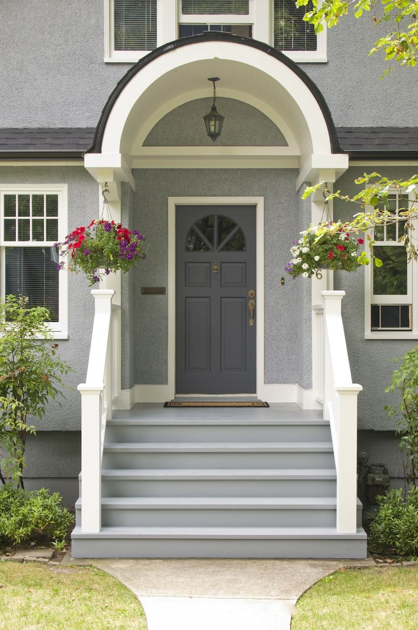 Front door colors for light gray house - House Colors Benjamin Moore Mysterious Af 565 Front Door Exterior Painting By Warline Painting Ltd