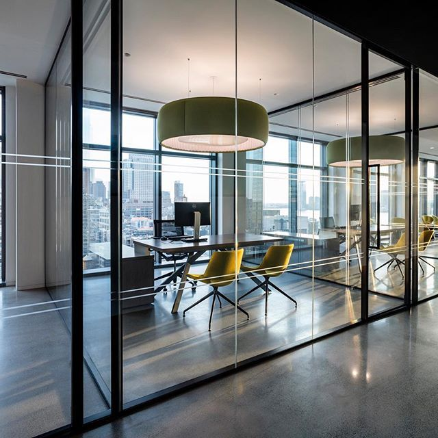 Glass walled private office space at biotronik in nyc for Modern corporate office design