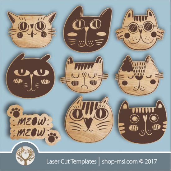 Funny Cute Cat Templates Online Laser Cut Design Store Download