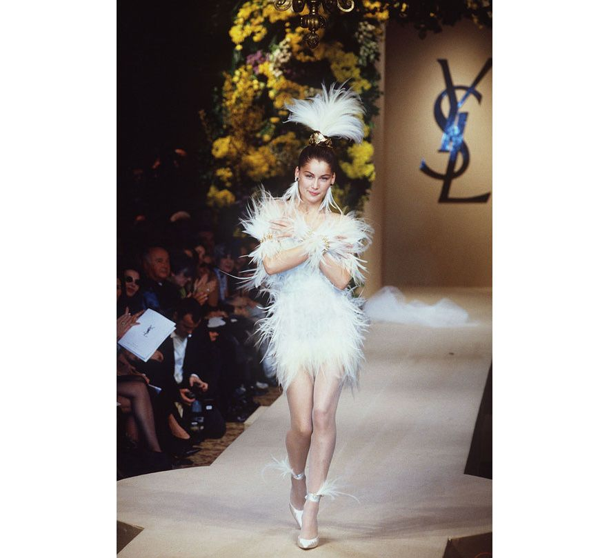 Iconic couture wedding gowns laetitia casta couture for Yves saint laurent wedding dress
