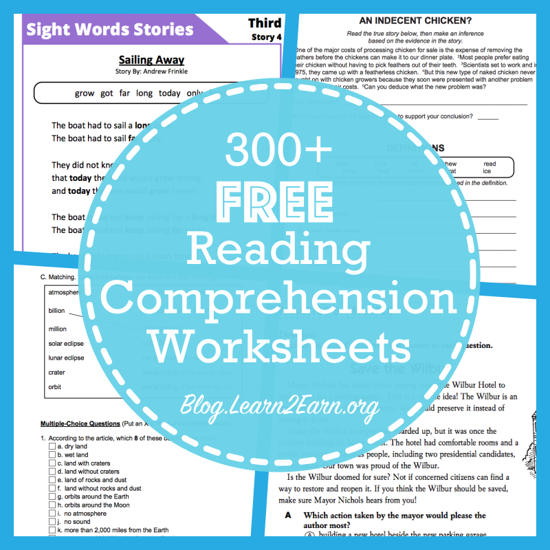 Find more than 1 000 free reading prehension worksheets within