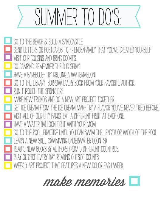 this summer will be spent as closely to this to do list as possible