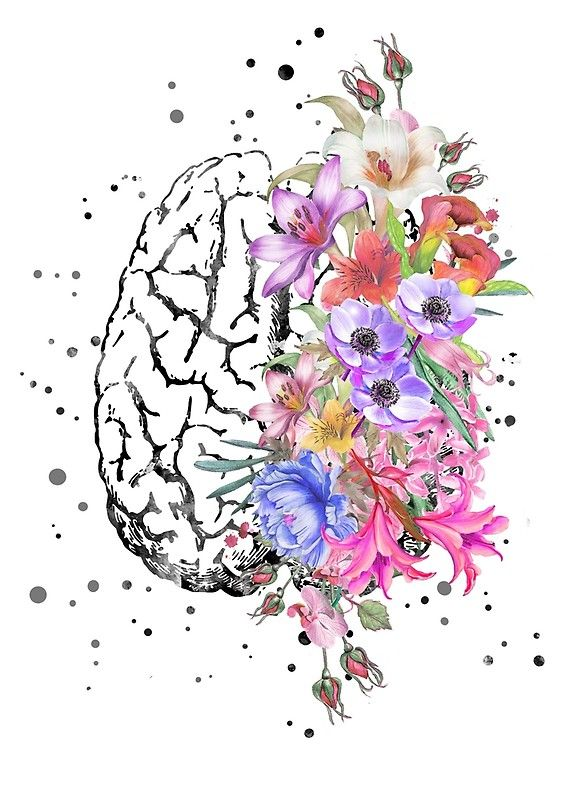 Brain anatomy, watercolor Brain, flowers brain, brain with Flowers ...