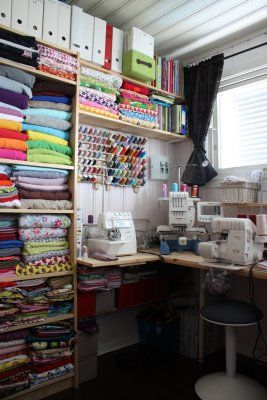 Aahhh!  Finally found the sewing room I love!! Since I am a professional seamstress, I never put my equipment away!  I have a similar setup right now, but need some finishing touches!!!