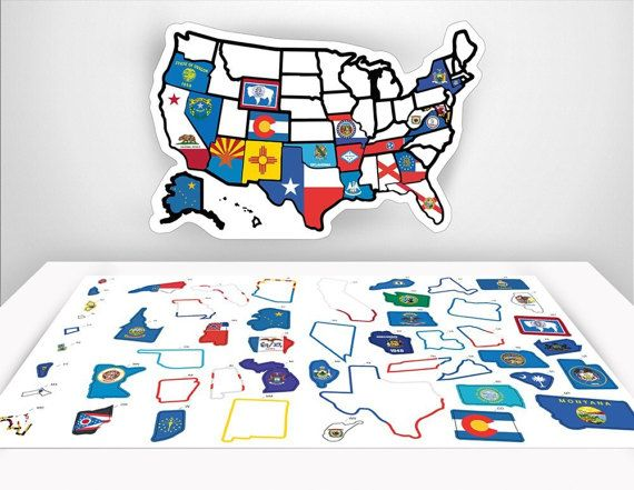 Photo of RV State Sticker Travel Map – 11″ x 17″ – USA States Visited Decal – United States Non Magnet Road Trip Window Stickers – Trailer Supplies
