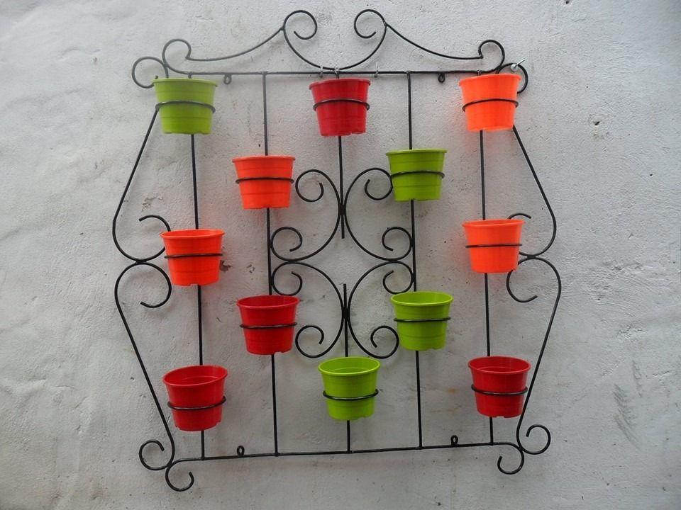 hermosa reja porta maceta artesanal - para 12 macetas | porta