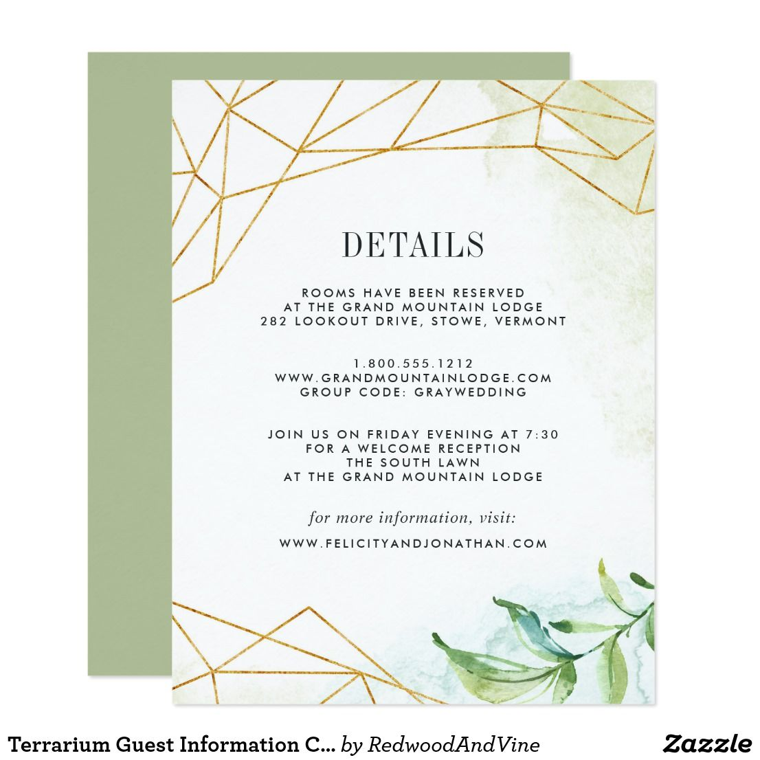 Terrarium Guest Information Card Designed To Coordinate With Our Wedding Collection This Fresh Green Botanical Features A