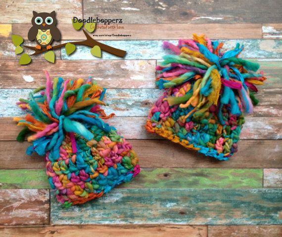 Twins Pompom Hats pom poms Girls Pink Aqua Orange by Doodlebopperz, $48.00