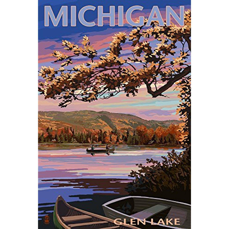 Glen lake michigan lake scene at dusk 12x18 signed
