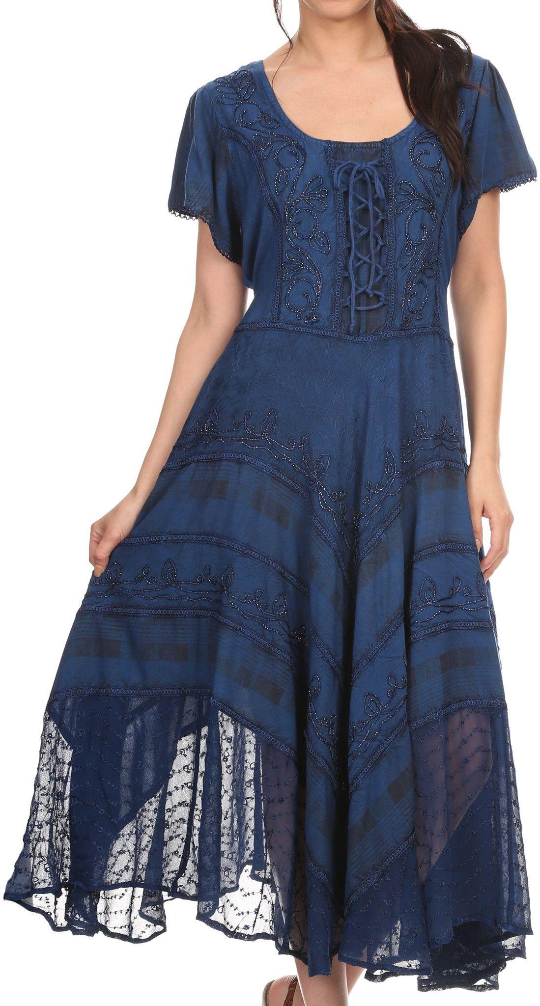 Sakkas mila long corset embroidered cap sleeve dress with adjustable