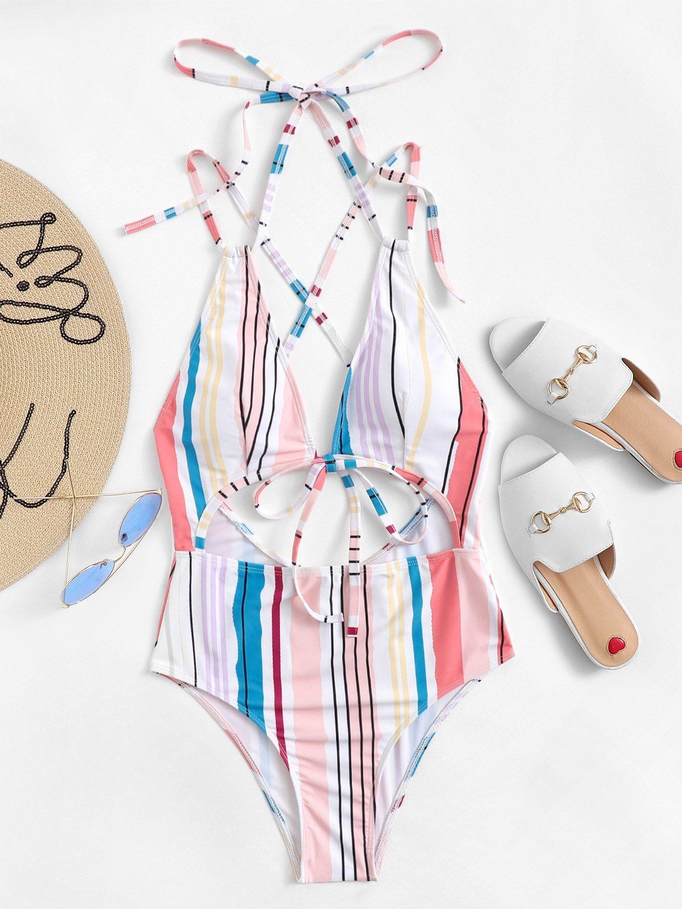 db5c949156 Cut-out Criss Cross Random Striped Swimsuit Cross#Criss#Cut ...