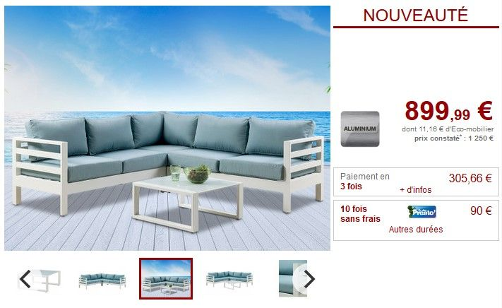 Salon de jardin SULAWESI coloris blanc et turquoise | Vente ...