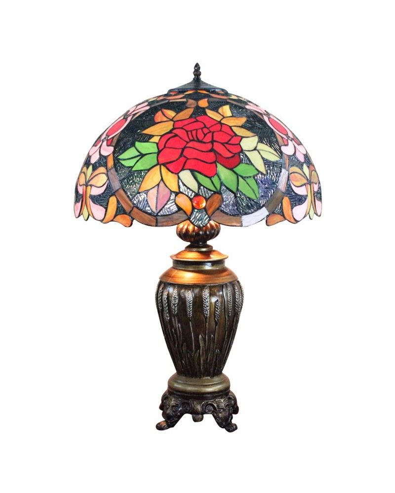 Antique Red Flowers Tiffany Art Table Lamp