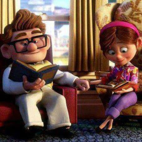 reading together carl and ellie hopeless romantic pinterest