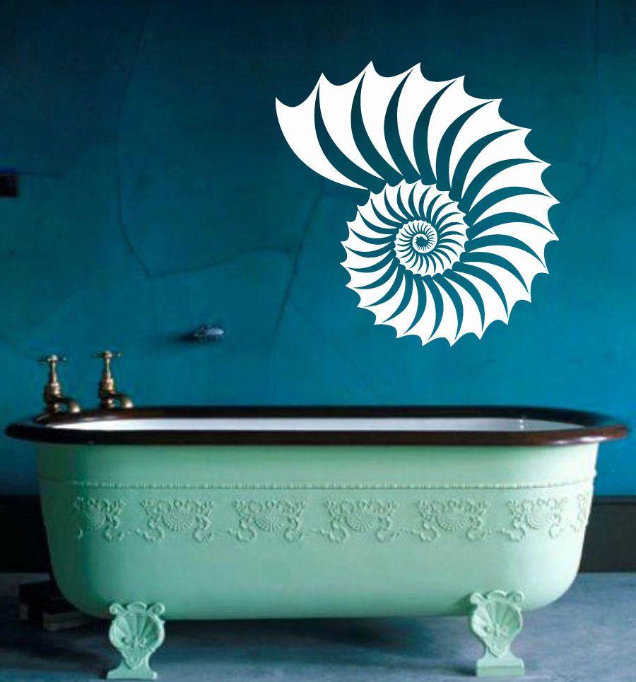 Sea Shells Wall Decals Sea Ocean Animal Vinyl Sticker Spa Decal Bath Decor Kg736