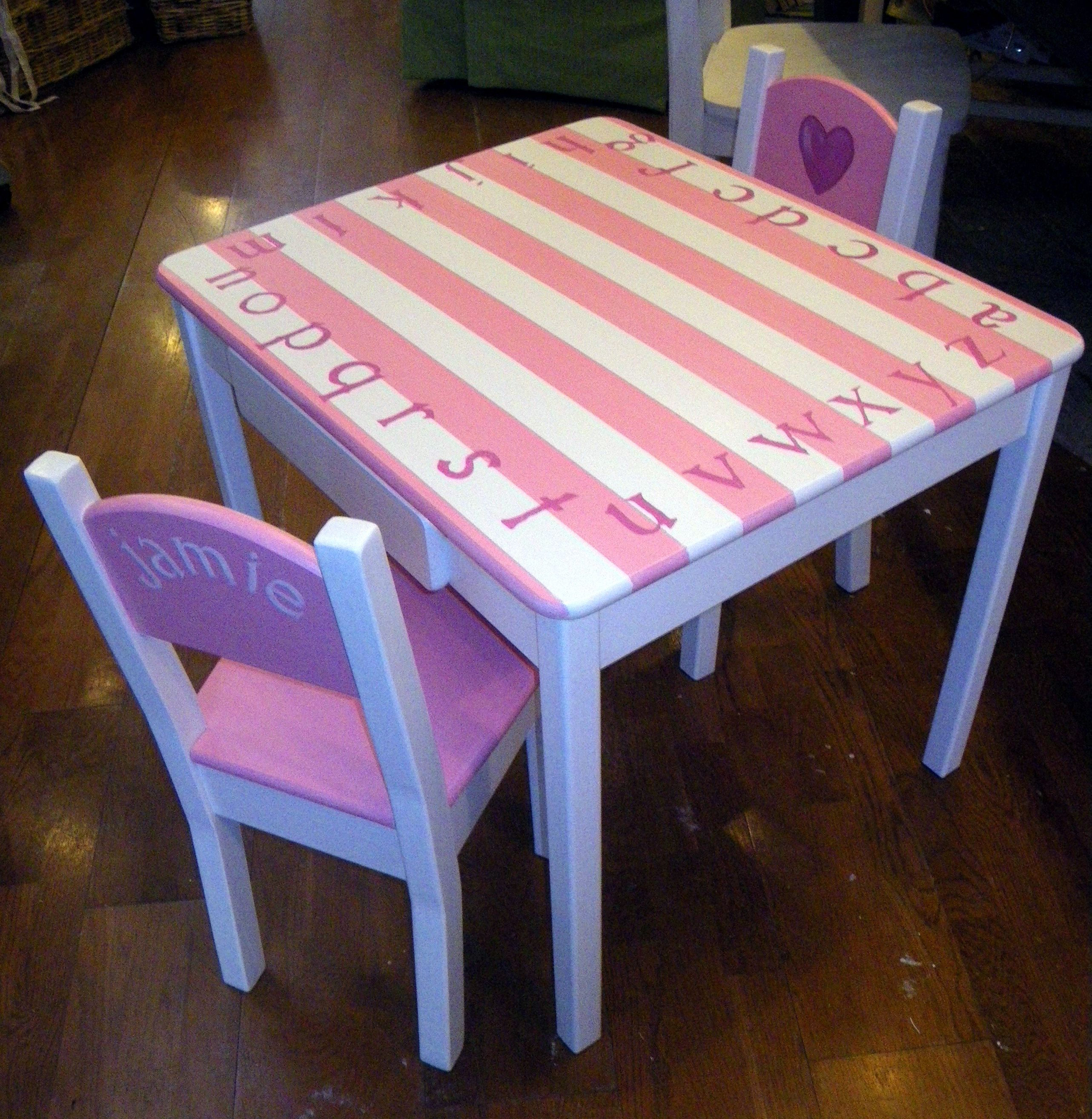 Hand painted Children s Table and Chair Set