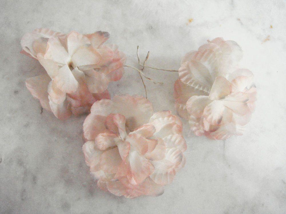 White silk flower wire wire center vintage 1950 s millinery flower 3 pc rose beige off white silk rh pinterest com tall white silk flower arrangements that look real white silk flower mightylinksfo