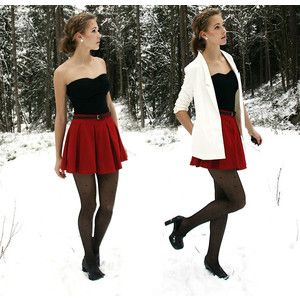 white blazer, red skirt, black top and tights outfit