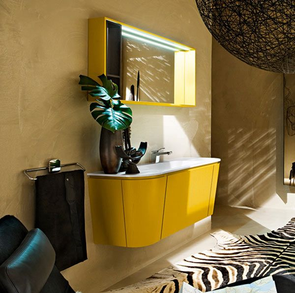 Vivid Yellow Bathroom Vanity With Curvaceous Lines