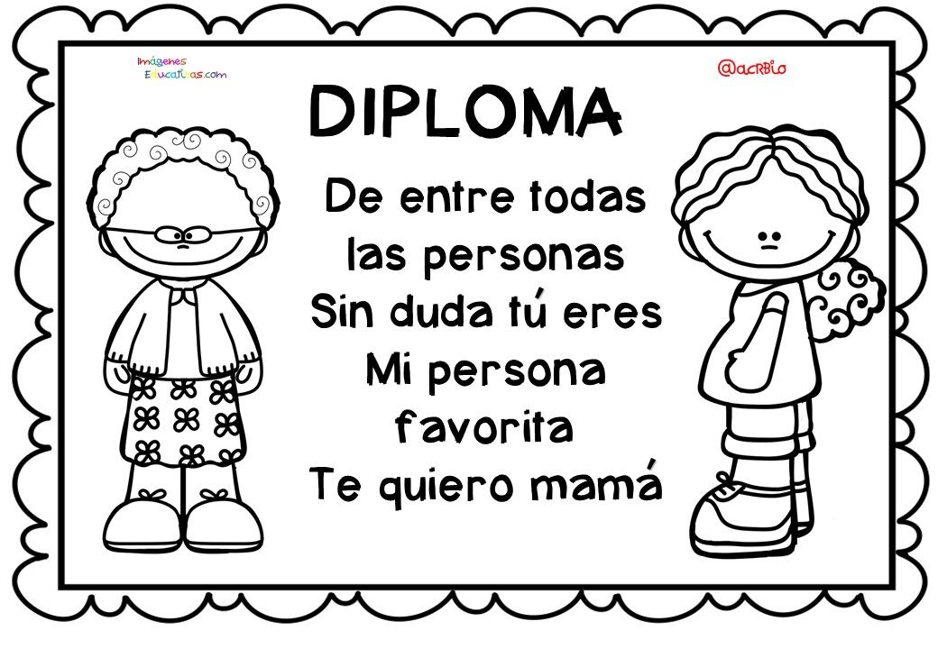 Diplomas originales para colorear del día de las madres. 10 de Mayo ...