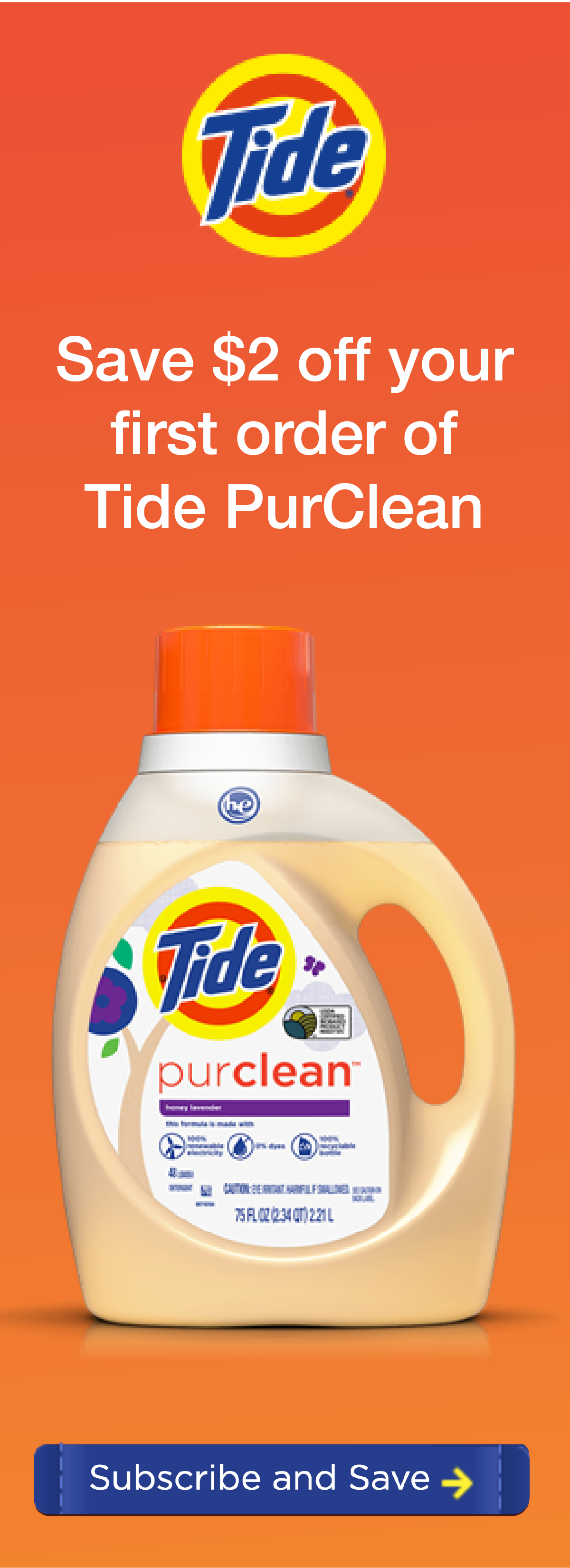 Tide Purclean Powerful Affordable Plant Based Laundry Detergent