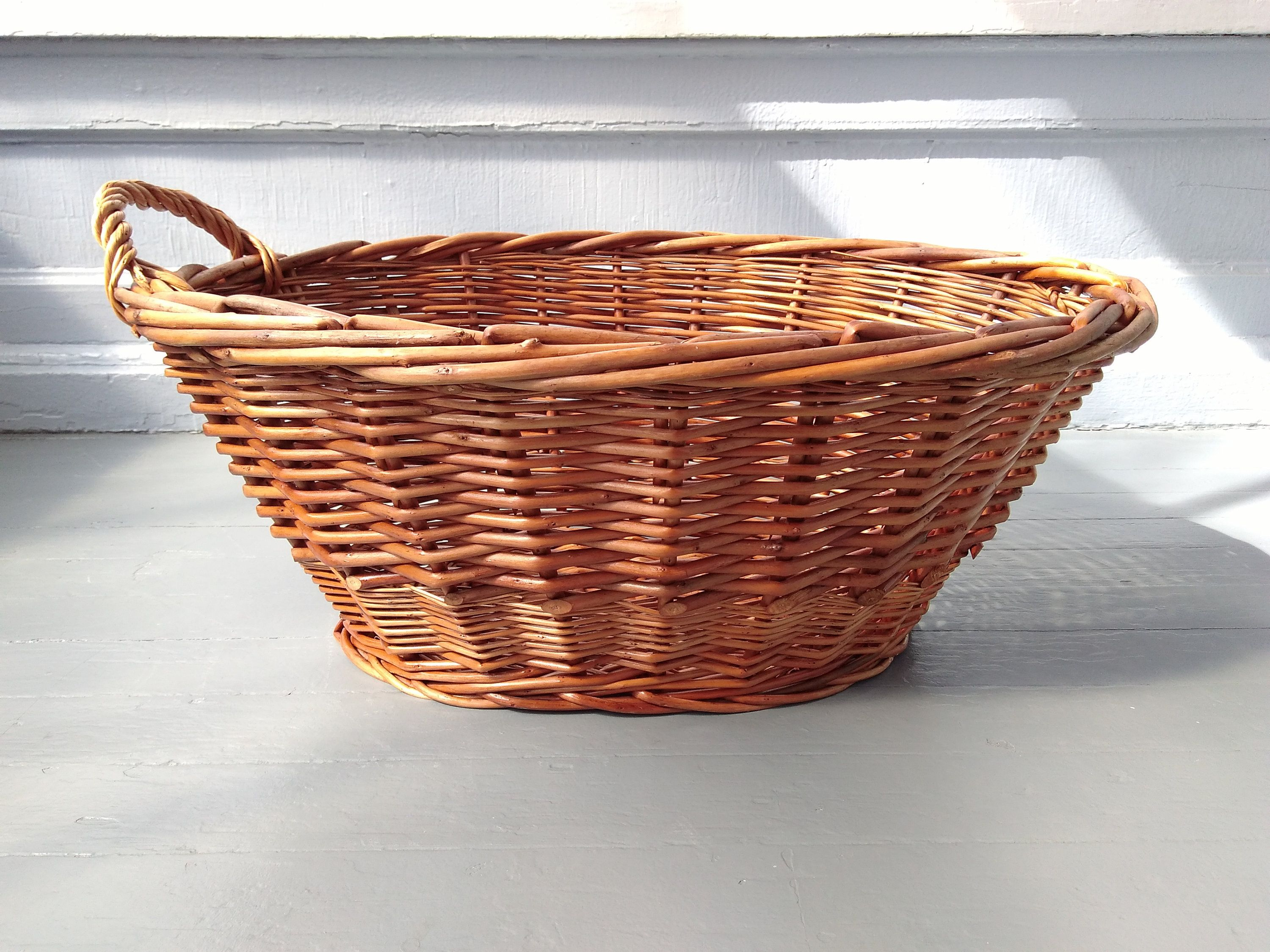 Large Vintage Wicker Laundry Basket Display Decorative Rustic Farmhouse Country Home Decor Rhymeswithdaughter