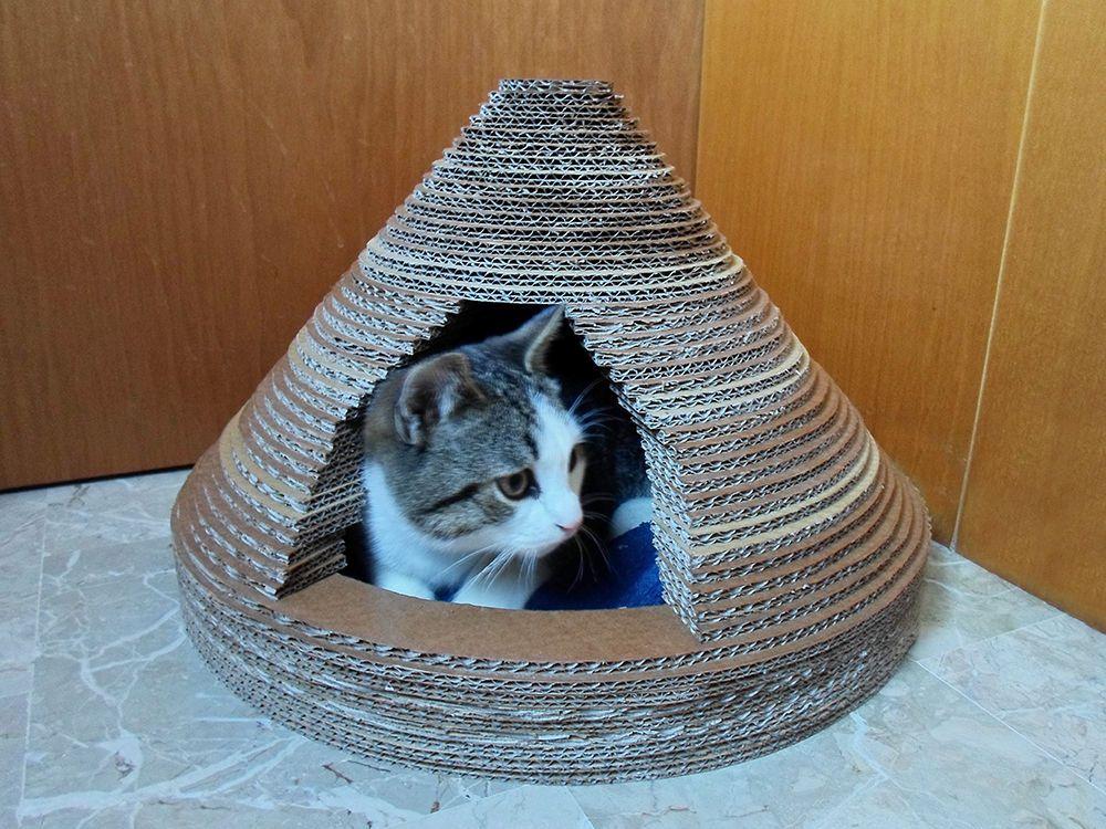 Tuto une maison en carton pour votre chat maisons en - Cabane pour chat en carton ...