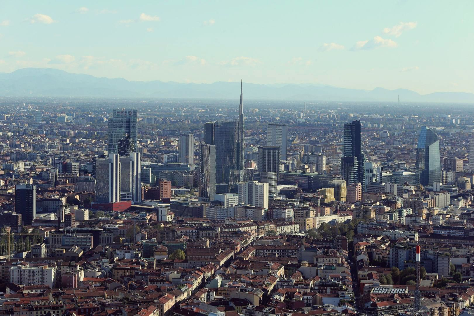Milan, 2015 panoramic skyline with alps on background — Stock ...