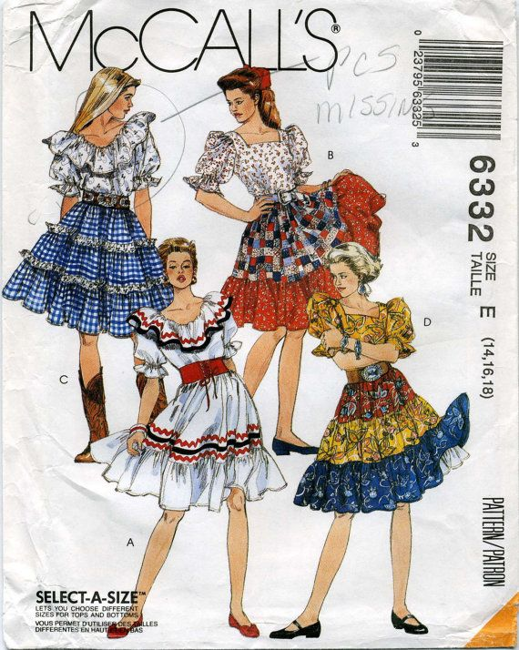 Vintage Square Dance Western Tops, Skirts and Petticoat Pattern ...
