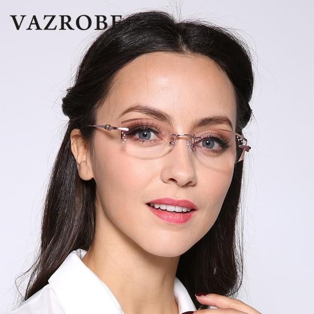 Vazrobe Rimless Glasses Frame Women Rhinestone Elegant Ladies Eyeglasses Frames for Prescription Diopter MyopiaBrown