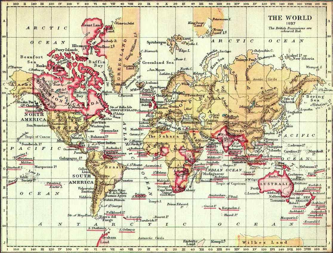 El imperio britnico en 1897 en rosa que era el color en que se world map 1897 british empire gumiabroncs Choice Image