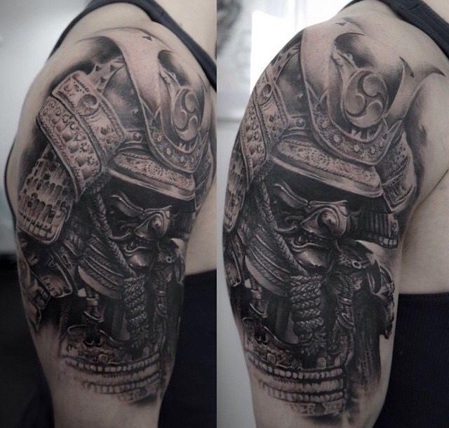 Samurai Shoulder Piece Japanese Tattoo Samurai Mask Tattoo Warrior Tattoos