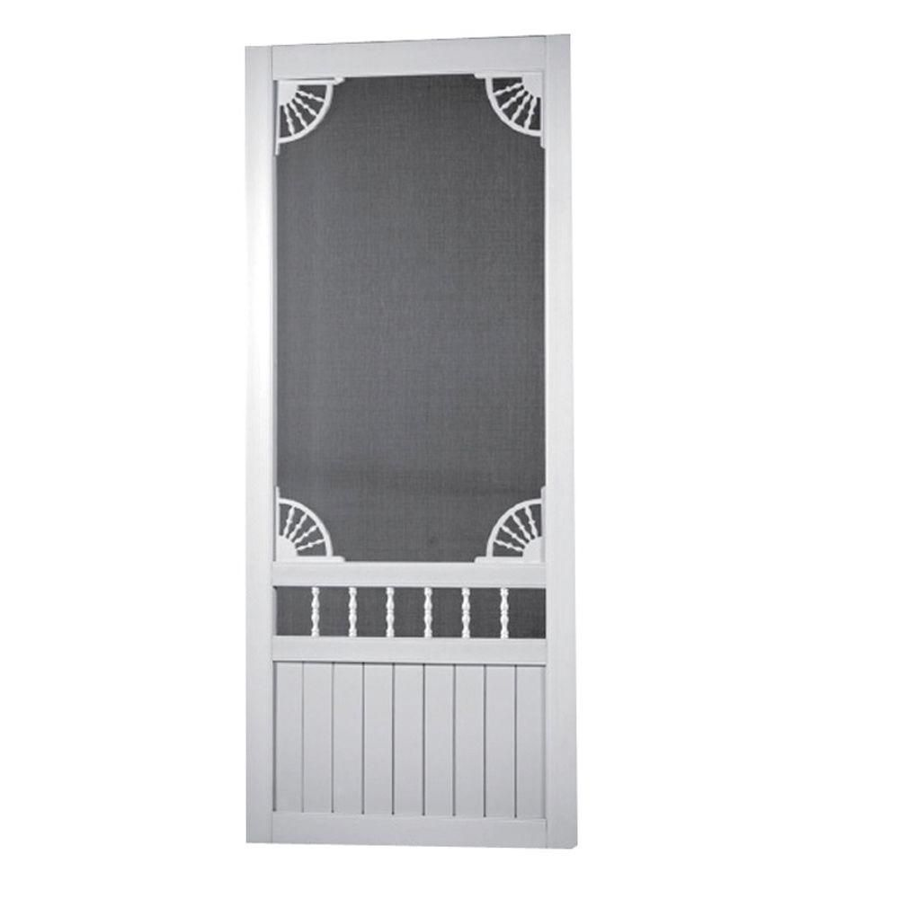 Screen Tight 36 In X 80 In Laurel Bay Solid Vinyl White Screen Door Vinyl Screen Doors Screen Tight Decorative Screens