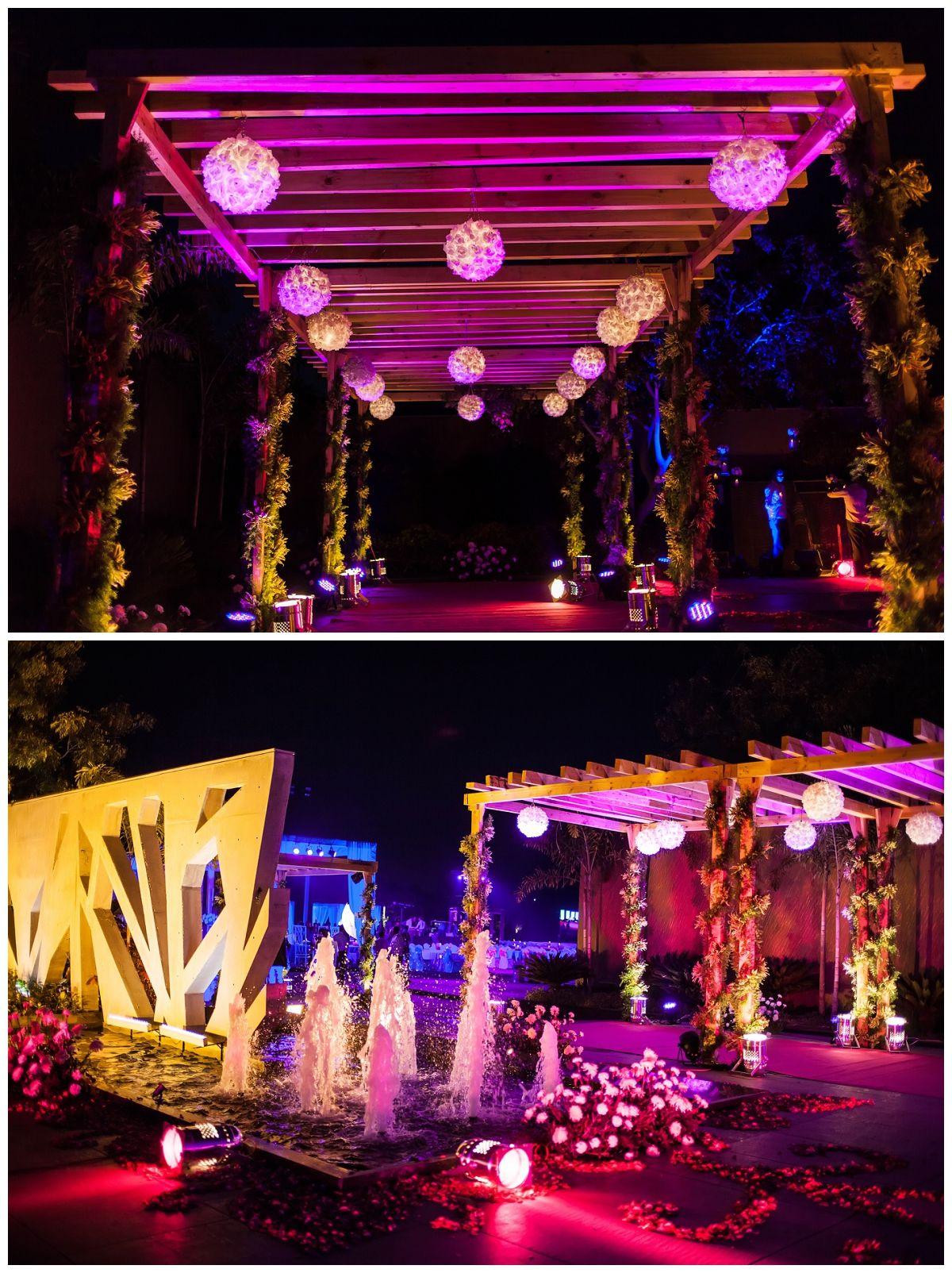Sangeet decor garba indian wedding wedding decor real sangeet decor garba indian wedding wedding decor real flowers fountain lights colors wedding photography ahmedabad wedding photography junglespirit Choice Image