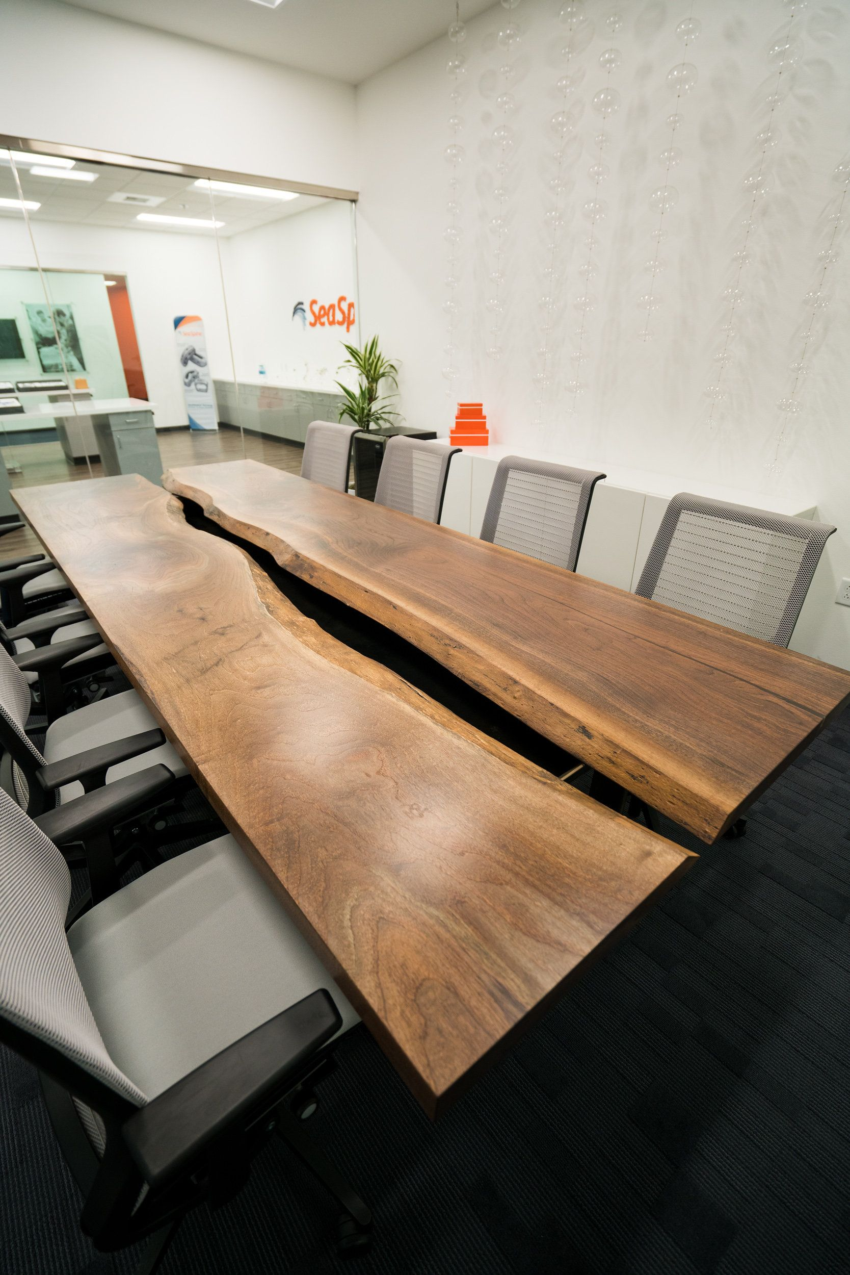 Black Walnut Conference Room Table For SeaSpine In Carlsbad, CA. Live Edge  Running Down