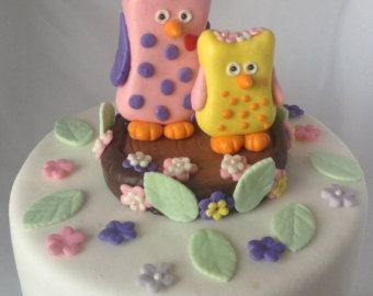 Fondant OWL CAKE TOPPER Baby Shower First Birthday Party Cupcake
