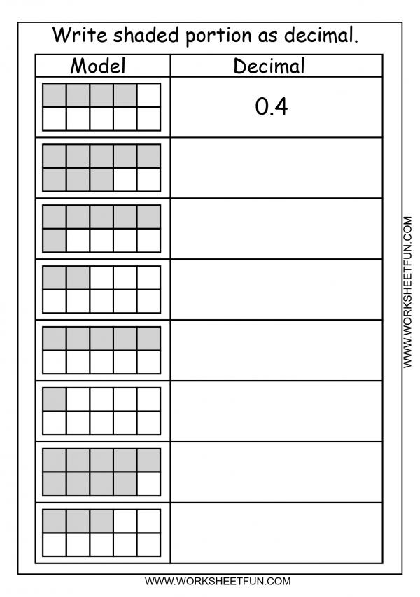 Decimal Model Tenths 2 Worksheets Free Printable Worksheets Worksheetfun Fractions Worksheets Decimals Worksheets Fractions