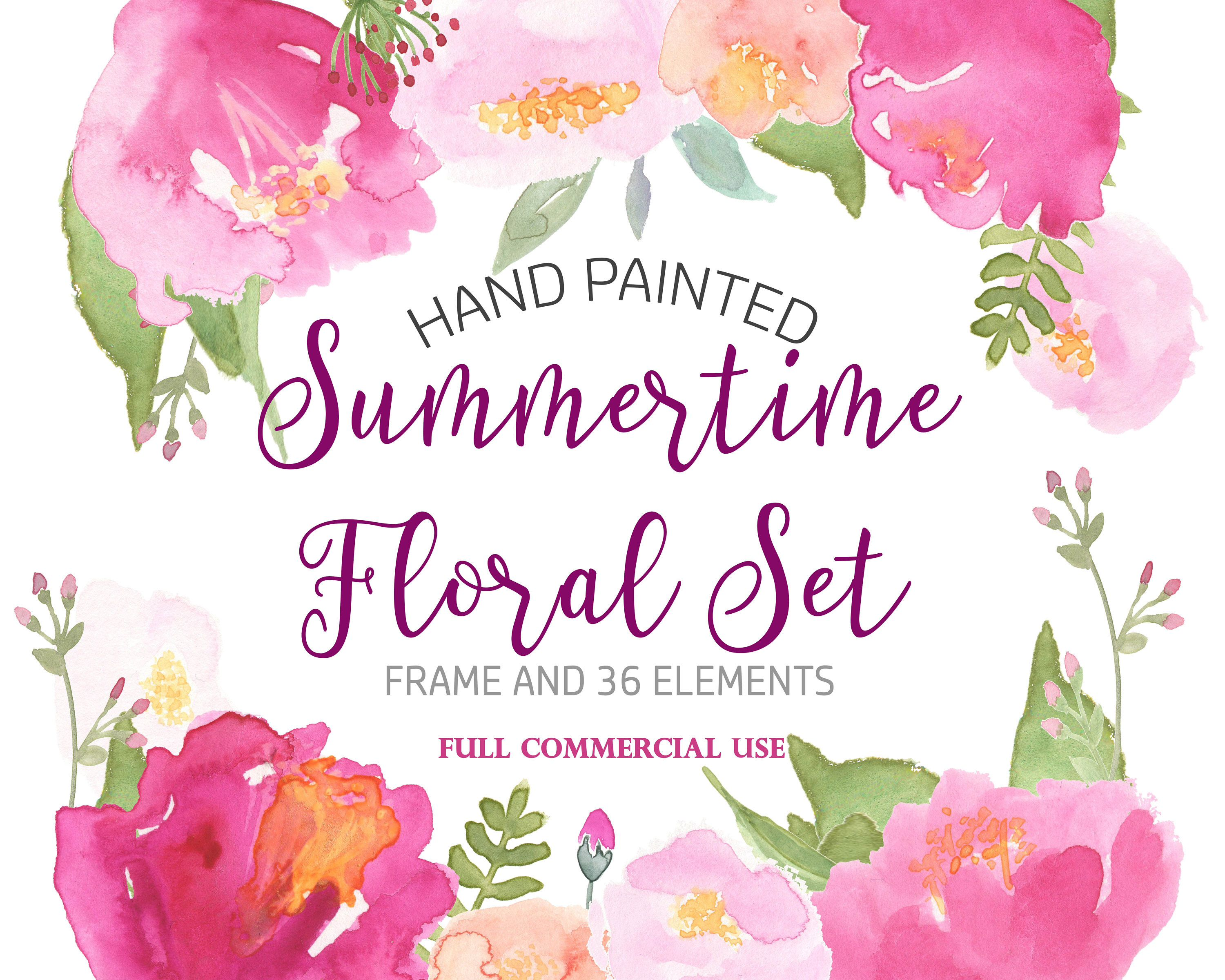 Watercolor Rose Clipart Hibiscus Clipart Pink Floral Clipart