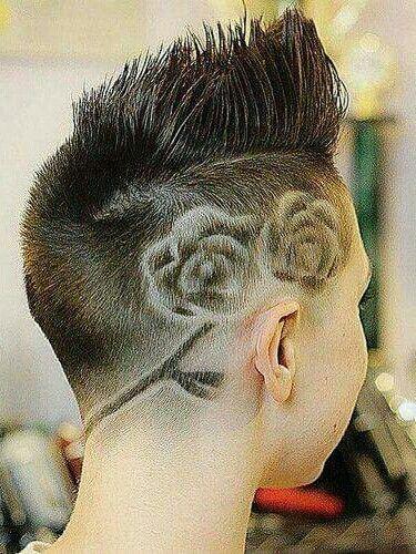 Rose Floral Shaved Hair Design Trend Idea Short