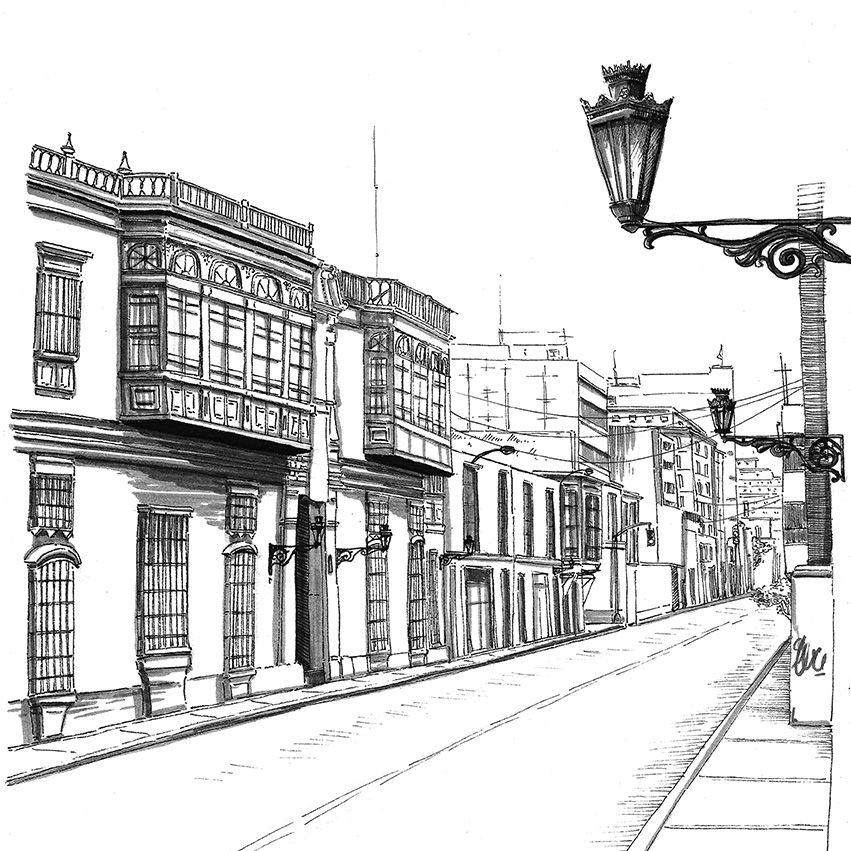 Casa Riva Aguero En El Centro De Lima Peru Dibujo A Mano Alzada Lapiz Y Tinta China Sobre Papel Fairy Tales Big Ben Landmarks