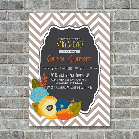 FALL BABY SHOWER invitation Fall Floral shower by PoppinsInk