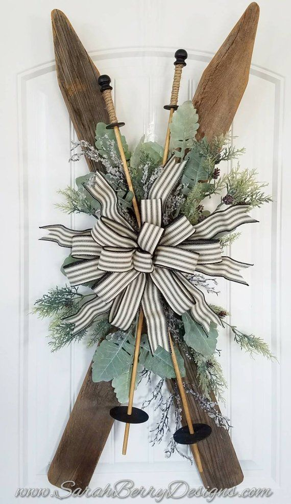 Photo of Vintage Inspired Ski Door Hanger- Front Door Wreath- Christmas Wreath – Skis – Winter Decor – Holiday Wreath – Rustic Farmhouse Decor